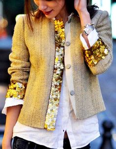Inspiration | trimming out the cuffs and band of blazer with stretch sequin