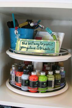 paint storage, paint wooden one fun colors Paint Storage, Craft Storage, Craft Desk, Craft Rooms, Art Supplies Storage, Art Studio Design, Hobby Room, Art Classroom, Fashion Room