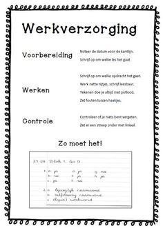Werkverzorging - zo vanzelfsprekend dat je bijna vergeet om het even duidelijk op papier te zetten. Maar nu, bij deze! MB BB School Plan, Back 2 School, Middle School, Classroom Arrangement, Visible Learning, School 2017, Skills To Learn, Classroom Posters, Teacher Tools