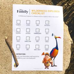 Be a Wilderness Explorer like Russell with this outdoor activity checklist!