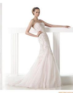 Außergewöhnliche Luxuriöse Brautkleider aus Softnetz mit Perlenstickerei