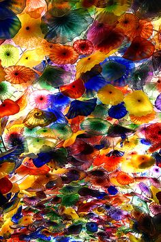 Dale Chihuly's Fiore Di Como, Glass Sculpture in the ceiling of the lobby @ Bellagio in Las Vegas (by Andrew Morrell Photography)