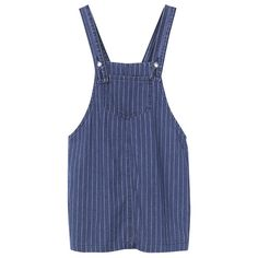 Women Strap Pocket Stripe Denim Mini Dress (105 SAR) ❤ liked on Polyvore featuring dresses, newchic, blue, blue dress, blue summer dress, denim mini dress, short dresses and stripe dresses