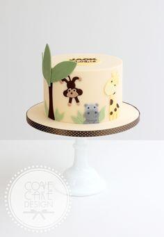 Jungle theme childrens boys birthday cake