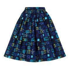 Jasmine Abstract Floral Swing Skirt ($68) ❤ liked on Polyvore featuring skirts, flippy skirt, blue floral skirt, blue swing skirt, flower print skirt and floral print skirt