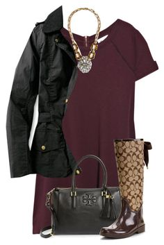 """""""//Coffee Run//"""" by preppybelle ❤ liked on Polyvore featuring Vanessa Bruno, J.Crew, Barbour and Tory Burch"""
