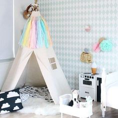 BIG teepee Plain fabric tent and flags only by moozlehome on Etsy