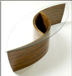 Andromeda Coffee table 2010, walnut, pure silver inlay, glass