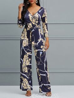 Ericdress Floral V-Neck Print Wide Legs Women's Jumpsuit Long Jumpsuits, Jumpsuits For Women, African Attire, African Dress, Latest Fashion For Women, Womens Fashion, Fall Fashion, Jumpsuit Dress, Short Jumpsuit