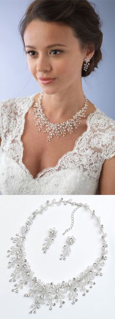 Bridal jewelry perfection! Floral jewelry set cascading with bouquets of Swarovski Crystals <3