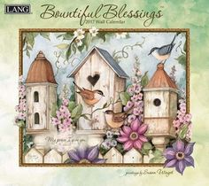 Lang 2017 Bountiful Blessings Wall Calendar, x 24 inches 12 full-color images (January 2017 - December Elegant linen embossed paper stock Brass hanging grommet to prevent calendar tear Linen embossed jacket Calendar size (opened): 13 x Decoupage Vintage, Decoupage Paper, Embossed Paper, Pintura Country, Country Paintings, Bird Cages, Bird Houses, Cross Stitch Patterns, Wall Art Prints