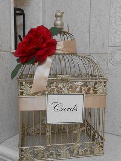 Birdcage Wedding Card Holder / Champagne Gold / Red by YesMoreFunk, $68.00