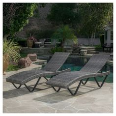 San Marco 2 Piece Wicker Patio Chaise Lounge - Grey - Christopher Knight Home : Target