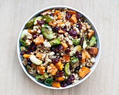 Wheat Berry Salad with Brussels Sprouts