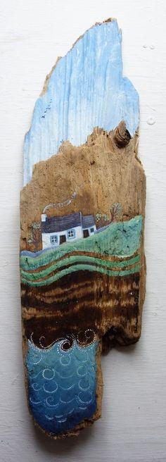 Driftwood painting More - Wood Art Pallet Painting, Pallet Art, Painting On Wood, Stone Painting, Painted Driftwood, Driftwood Art, Driftwood Projects, Driftwood Ideas, Beach Crafts