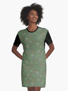 'Aquatic plants on emerald background' Graphic T-Shirt Dress by oceanys I Dress, Shirt Dress, T Shirt, Sweet Gum, Summer Outfits, Beach Outfits, Background S, Designer Dresses, Cold Shoulder Dress