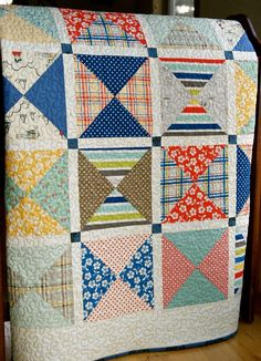 Fun quilt with Seaside Fabrics by Riley Blake.  Love scrappy!!