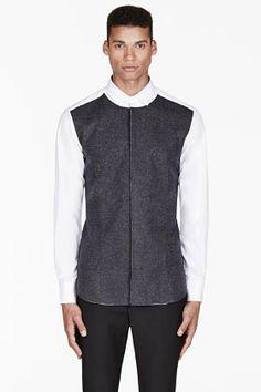 Neil Barrett White Wool-paneled Button-up Shirt for men | SSENSE