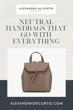 Are you looking for a versatile handbag colour that isn't black? Fango is an easy neutral. It's not quite in the brown family but not in the grey either. Falling in-between the two, fango is both functional and stylish. Subscribe and get 10% off your first order: www.alexandradecurtis.com/join Tan Leather Handbags, Italian Leather Handbags, Designer Leather Handbags, Brown Leather Handbags, Leather Backpacks, How To Make Handbags, Classic Leather, Leather Design, Neutral