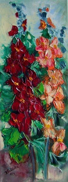 Mallows IMPASTO Original Oil Painting Flowers Garden Impressionist Europe Artist #ImpressionismImpasto