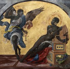 The Annunciation of a Woman' by Harmonia Rosales, contemporary Afro-Cuban US artist known for foregrounding black women in Western and religious imagery to create an alternative world vision Kunst Inspo, Art Inspo, African American Art, African Art, Art And Illustration, Renaissance Kunst, Renaissance Artists, Black Art Painting, Afro Art