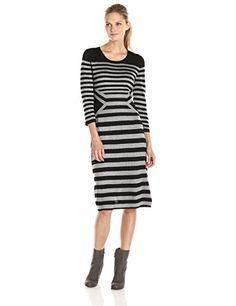 Gabby Skye Women's Stripe Sweater Dress, - This would either be super flattering, or awful