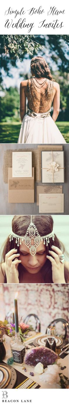 Boho Bride & Rustic Refined. Get Inspired! Featured: our unique boxed wedding invite with layers of taupe, ivory, moss green, blush and gray. Paired with a mix of bohemian elements, like crystals, gold, and our oh-so-favorite boho bride. See more lovely boho inspiro here: https://www.pinterest.com/beaconln/boho-wedding/