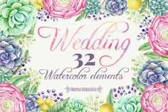 Wedding watercolor cliparts by Maryna on @creativemarket