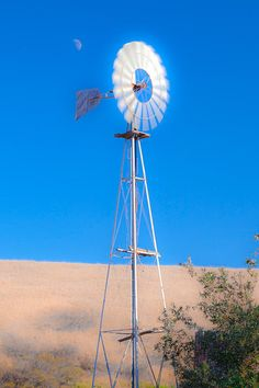 Farm Windmill And The Moon Blue Sky Fine Art Photography Print by Jerry Cowart Farm Windmill, Windmills, Photos For Sale, Northern California, Fine Art Photography, Fine Art America, Ranch, Interior Decorating, Artsy