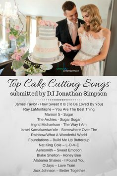 15 Wedding Cake Cutting Songs That Aren t Overplayed   Wedding     DJ Jonathan Simpson s Top Cake Cutting Songs