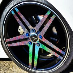 My verde parallax wheels wrapped in rainbow glitter vinyl :) @dngrkitty