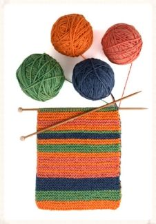 IN THE MOOD for some mindless mind-full knitting? The 4-color Mood Scarf takes its cue from you--blue yarn for stressed, green for bored, orange for happy, you get the idea!