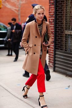 Camel coat and red pants