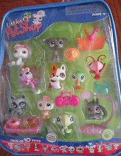 2007 Hasbro LPS Littlest Pet Shop Playset PACK of 10 PETS + Accessories New NIP