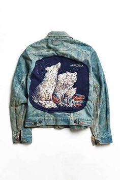 Vintage Arizona Wolf Denim Trucker Jacket