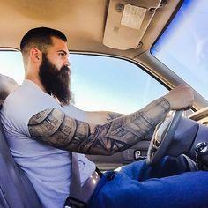 Brandon Oliver - full thick bushy dark beard mustache beards bearded man men mens' style tattoos tattooed bearding #beardsforever