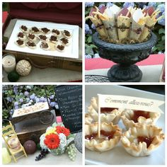 vintage urn with help yourself finger food in paper cones... would also look great in black & white & pink color scheme, or made with French newspaper images {download for FREE}