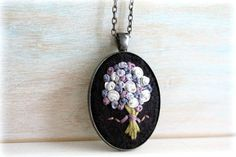 Hand Stitched Embroidery Embroidered Jewelry Felt by sewhappygirls, $25.00
