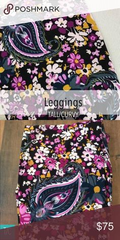 🎉SALE🎉BNWT 🦄 LULAROE TC PAISLEY LEGGINGS!! Absolutely Gorgeous Black Leggings with Purple & Pink Floral Paisley!!  Ultra Rare HTF Print!  Smoke free pet free home.  Ships in 24hrs with tracking number!  Sizing is Tall & Curvy which covers 12-22 per LulaRoe.  Cross Posted!  Made in China LuLaRoe Pants Leggings