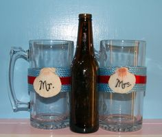 Patriotic Party Decor / 4th of July Beer by CarolesWeddingWhimsy, This set of 2 Beach Wedding Decoration, Nautical Wedding Toasting Glasses - Destination Wedding Decoration are turquoise, red, and Mr. and Mrs are written on oyster shells.  You can find them at https://www.etsy.com/listing/151267886/patriotic-party-decor-4th-of-july-beer https://www.etsy.com/shop/CarolesWeddingWhimsy https://www.facebook.com/CarolesWeddingWhimsy