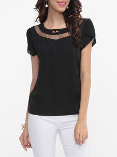 Hollow Out Patchwork Plain Puff Sleeve Chic Round Neck Blouses