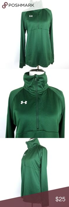 """Under Armour All Season Gear Top Size Medium Under Armour women's size medium All Season Gear Semi-Fitted green 1/4 zip pullover.  Excellent used condition, please see all pictures.  Measurements are in inches, approximate and are taken with the garment lying flat. Sleeve measured from mid-collar to cuff  Sleeve 33"""" Length 28"""" Chest 18""""  Thanks for looking and please check out my store for other great items! Under Armour Tops"""