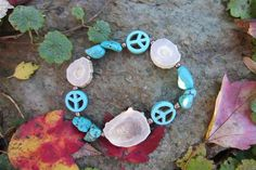Deer Antler and Turquoise Peace sign Bracelet. $35.00, via Etsy.