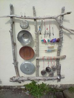 Reggio Emilia Outside and Play   outdoor recycled / upcycled play station