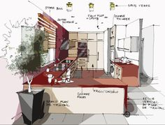 Réalisation Edeco : Un salon ouvert sur une cuisine