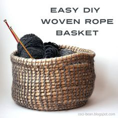 Woven Rope Basket DIY Woven Rope Basket: an easy weave using yarn, a hair clip (or embroidery needle) and hemp rope.DIY Woven Rope Basket: an easy weave using yarn, a hair clip (or embroidery needle) and hemp rope. Diy Projects To Try, Crafts To Make, Diy Crafts, Creative Crafts, Diy Simple, Easy Diy, Basket Crafts, Gift Basket, Rope Crafts