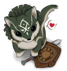 Aawwww Chibi Link in Wolf form in Twilight Princess <3