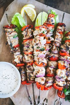 Made with the tastiest marinade ever, these Mediterranean Chicken Kebabs with Lemon Aioli will be the hit of your summertime barbecues! | ciaochowbambina.com #kebabs #chickenkebabs #mediterraneanchickenkebabs #memorialday #lemonaioli #chicken #grilledchicken Chicken Skewers, Marinated Chicken, Grilled Chicken, Mediterranean Chicken, Frugal Meals, Freezer Meals, International Recipes, Cooking Recipes, Food Porn