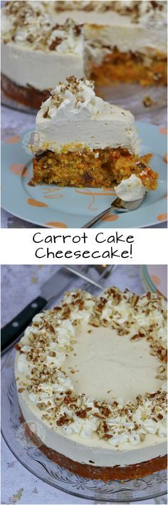 Carrot Cake Cheesecake!! A layer of DELICIOUS Carrot Cake, topped with a creamy DELICIOUS Cheesecake… a Carrot Cake Cheesecake!