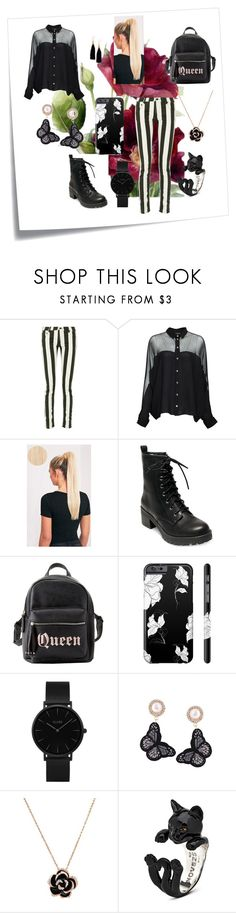"""Beautifully Black"" by alexis-kitten on Polyvore featuring Post-It, Off-White, Gucci, Madden Girl, Charlotte Russe, CLUSE and Ink + Alloy"